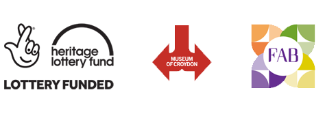 Heritage lottery fund, Museum of Croydon and FAB logos